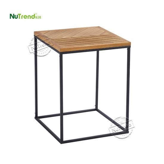 wholesale Contemporary Solid Wood Top Metal Frame Sofa Side Table For Living Room Furniture Supplier China